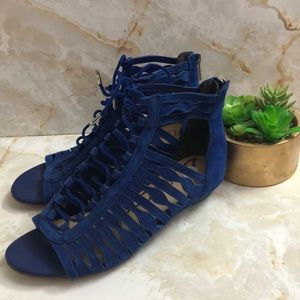 Sam Edelman blue sandals sz 7 zipper back